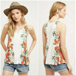 Anthropologie Gardenia Floral Button Down Tank XS